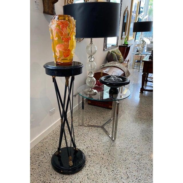 Vintage Maitland Smith Pedestal Neoclassical Revival in Tessellated Marble, Patinated Steel and Brass For Sale - Image 12 of 13