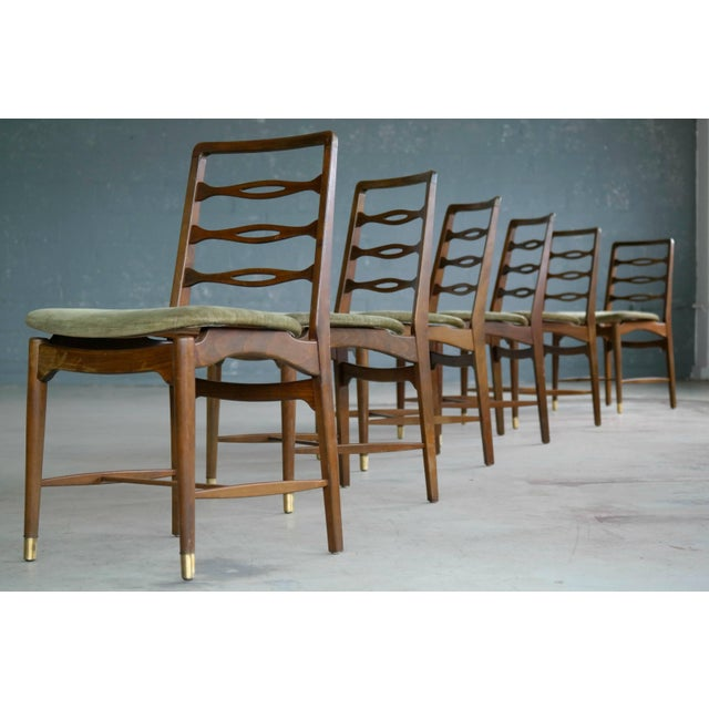 1940s Set of Six Ole Wanscher Attributed Danish Midcentury Dining Chairs For Sale - Image 5 of 10