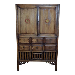 Vintage 1960s Hand-Carved Wooden Armoire from Taiwan with Doors and Drawers For Sale