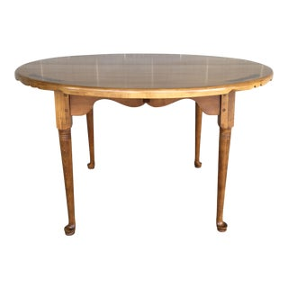 "L. Hitchcock Paint Decorated Solid Maple 72"" Dining Extension Table For Sale"
