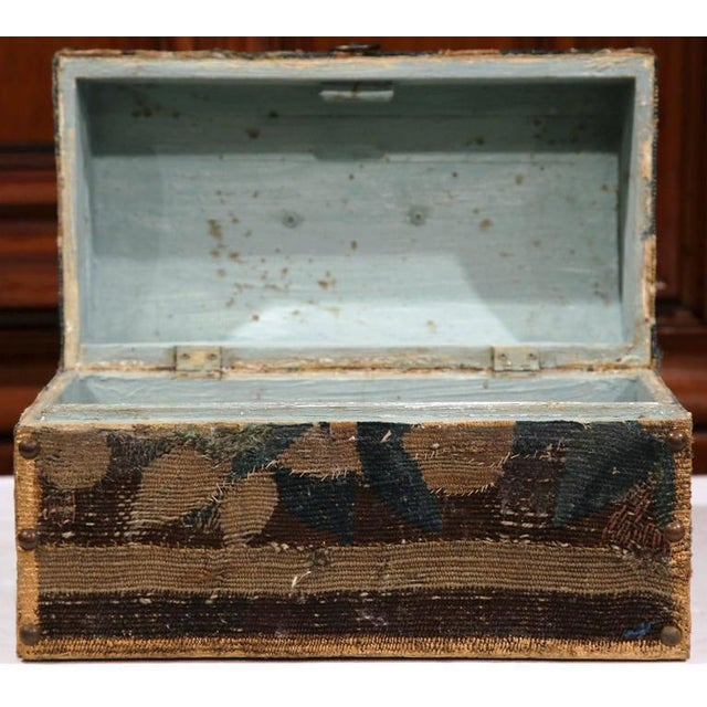 Mid 19th Century Bombe Wood Trunk Covered With 18th Century Aubusson Tapestry and Signed J. Lamy For Sale - Image 5 of 10