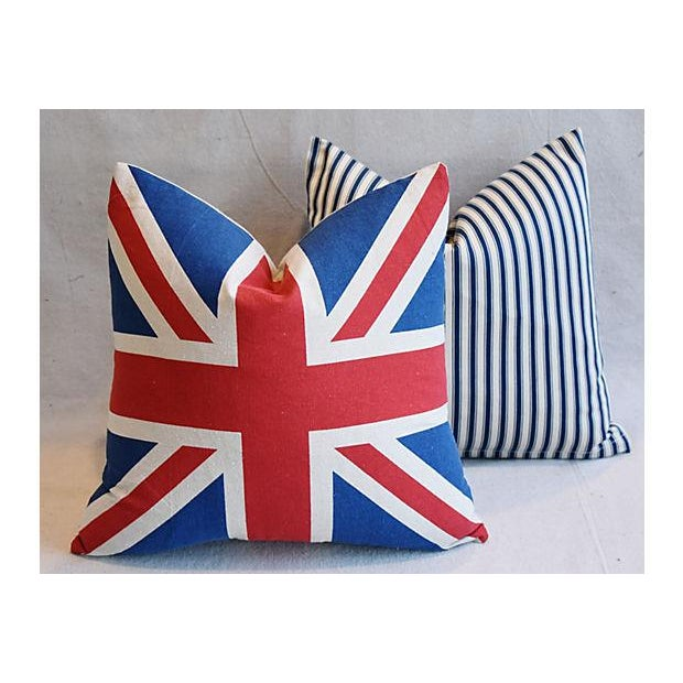 """17"""" Custom Tailored French Ticking & Union Jack Feather/Down Pillows - Set of 2 - Image 10 of 11"""