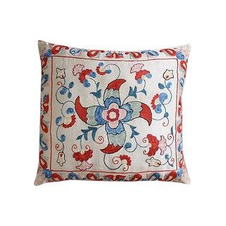 Silk-Embroidered Uzbek Pillow Sham For Sale