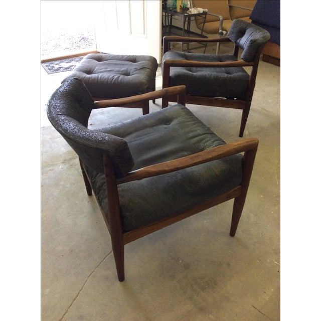 Adrian Pearsall for Craft Lounge Chairs & Ottoman For Sale In New York - Image 6 of 11