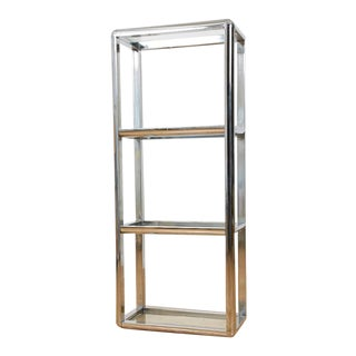 Vintage Chrome Milo Baughman Style Bookcase or Etagere, 1970s For Sale