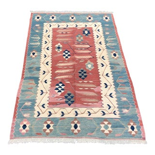1960s Turkish Antique Pastel Kilim Rug - 3′3″ × 5′4″ For Sale