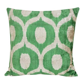 Large Silk Velvet Down Feather Ikat Accent Pillow