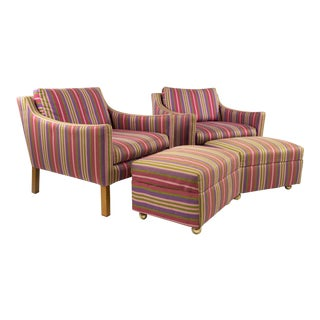 Borge Mogensen Model 2207 Style Mid-Century Modern Lounge Chairs & Ottomans - a Pair For Sale