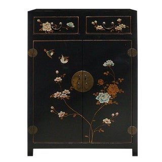 Chinese Black Color Flowers & Birds Veneer Leather Side Table Shoes Cabinet