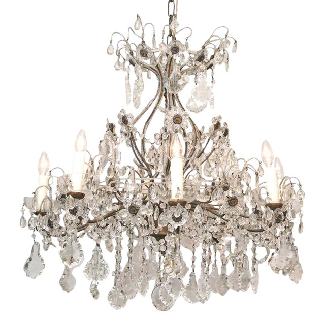 Eight Light Crystal Chandelier with Flowers on Beaded Stems For Sale