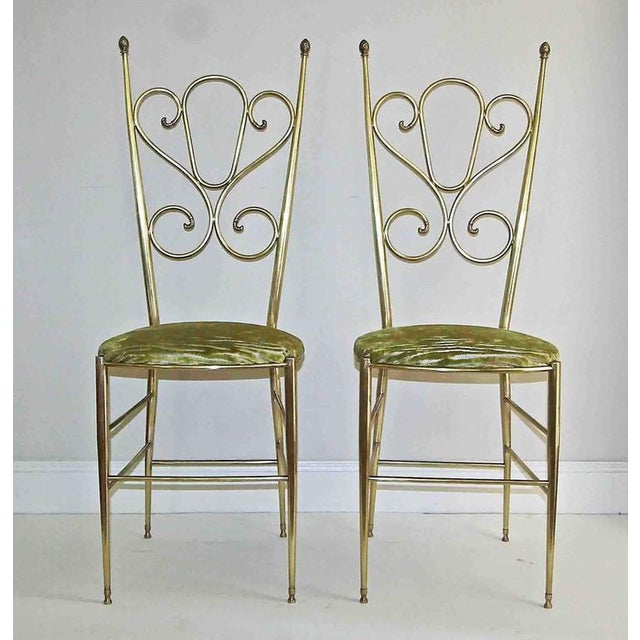 1950s Italian all Back Brass Chiavari Side Chairs - a Pair For Sale - Image 10 of 11