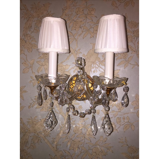 French Crystal Sconces - Pair - Image 4 of 6