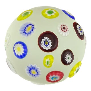 AVeM Murano Vintage Satin Surface Millefiori Flowers Italian Art Glass Mid Century Paperweight For Sale