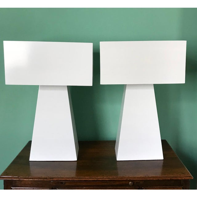 1980s Pair of White Enamel Table Lamps by George Kovacs For Sale - Image 5 of 7
