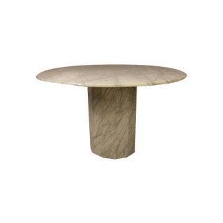Mid Century Modern Round Italian Carrara Marble Dining Table For Sale