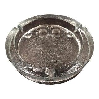 Blenko Glass Owl Ashtray