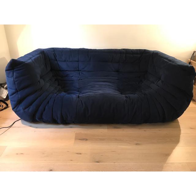 Ligne Roset Navy Alcantara Togo Sofa For Sale - Image 9 of 12