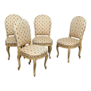 Set of 4 Louis XV Style Dining Side Chairs For Sale