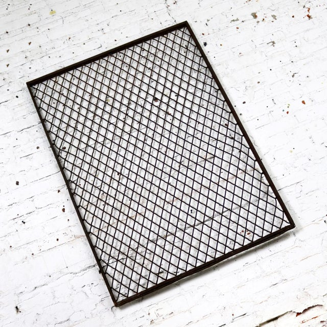 Mid 20th Century Antique Primitive Industrial Woven Wire Window Security Guard For Sale - Image 5 of 13
