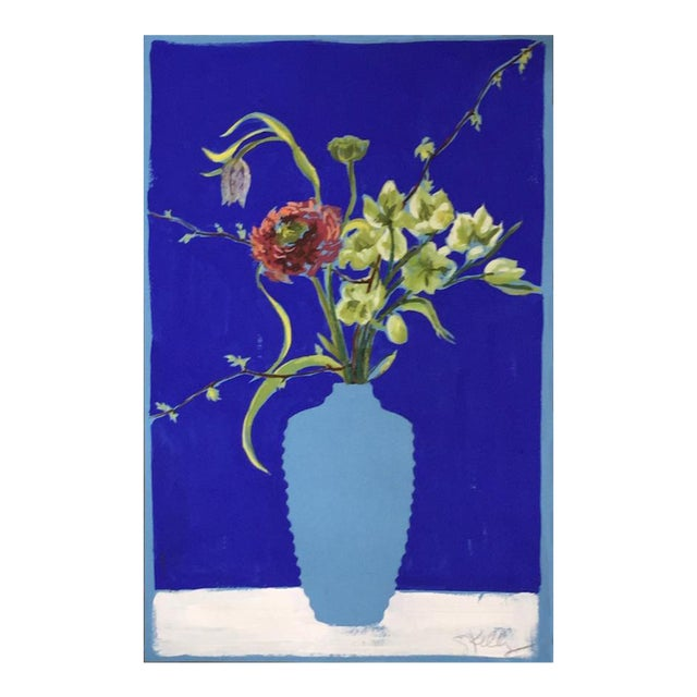 Flowers in Turquoise Vase Still Life Painting by Gretchen Kelly For Sale