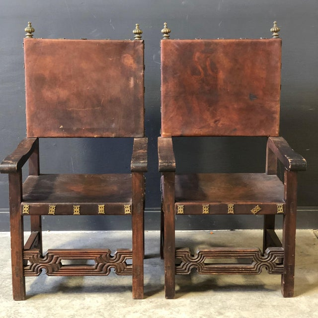 Pair of Antique Leather and Wood Spanish Revival Arm Chairs For Sale - Image 10 of 10