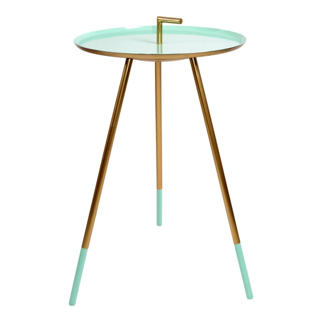 Mid-Century Modern Round Three-Legged Brass & Turquoise Enamel Side Table 1950s For Sale