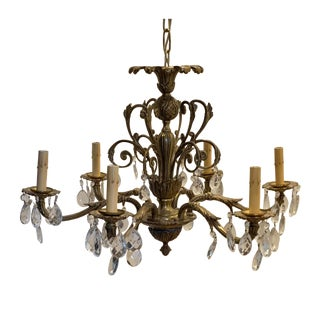 Vintage French Brass and Crystal Chandelier For Sale