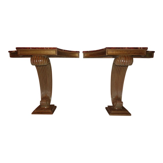 1940s Hollywood Regency Grosfeld House Faux Painted Consoles - a Pair For Sale