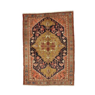 Early 20th Century Antique Persian Nahavand Rug - 5′2″ X 6′5″ For Sale