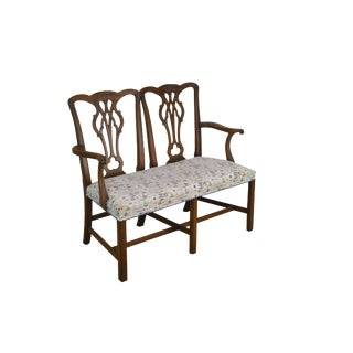 Kittinger Chippendale Style Mahogany Double Back Settee B For Sale