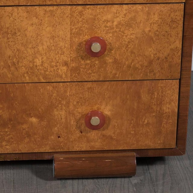 Art Deco Skyscraper Style Chest in Bookmatched Burled Elm, Mahogany and Walnut - Image 7 of 11