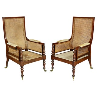 Pair of Late Regency Mahogany and Caned Armchairs For Sale