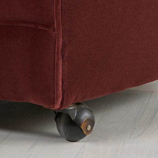 Mid 20th Century Pair of Tufted Velvet Swivel Chairs For Sale - Image 5 of 6