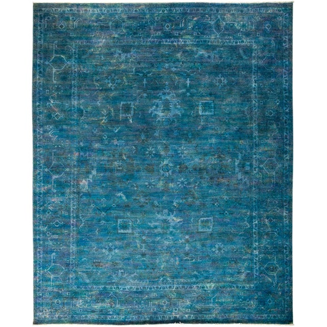 Overdyed Hand-Knotted Blue Rug- 8′2″ × 9′10″ For Sale - Image 4 of 4