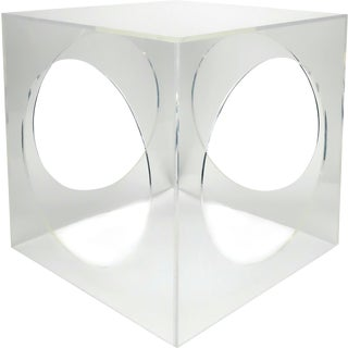 Hollywood Regency Geometric Lucite Side Table For Sale
