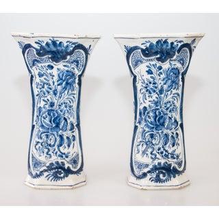 Antique 18th-Century Dutch Delft Faience Floral Trumpet Vases - a Pair Preview
