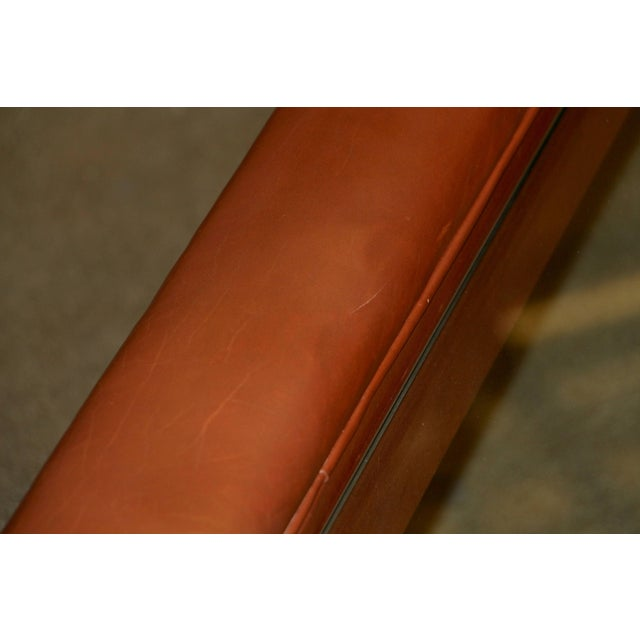 Contemporary Leather Wrapped Coffee Table With Glass Insert For Sale - Image 3 of 10