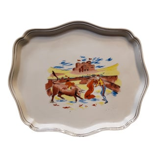 Mid 20th Century Porcelain Matador and Bull Motif Serving Tray For Sale
