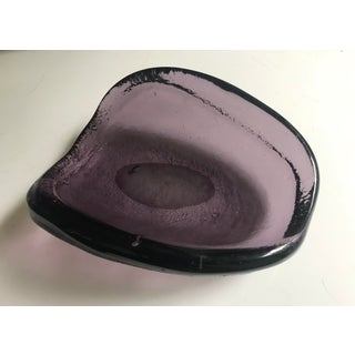 Vintage Glass Ashtray Violet Thick Murano Style Preview