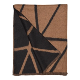 Valley Link Lambswool Cashmere Throw, Brown Geometric For Sale