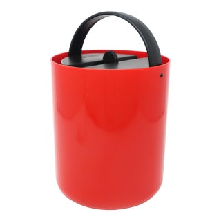 Vintage Red and Black Plastic Ice Bucket by Bodum For Sale