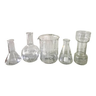 Vintage Collection of Laboratory Glass Beakers - Set of 5 For Sale