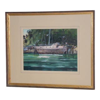 """Dennis Simpson """"Pink Boat on the Albion"""" Original Watercolor Painting C. 1984 For Sale"""