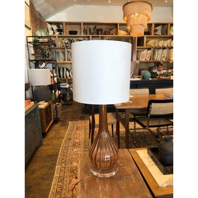 Italian Mid-Century Modern Pink Murano Glass Lamp For Sale - Image 4 of 10