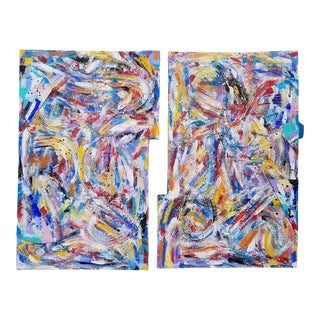 1980s XL Mixed Media Abstract Expressionist Paintings - a Pair For Sale