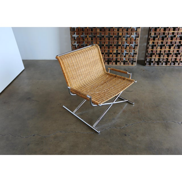 """Mid 20th Century 1966 Vintage Cane & Chrome Plated Steel """" Sled """" Chair For Sale - Image 5 of 10"""