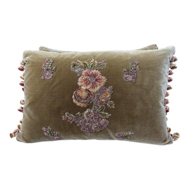 Brown Silk Velvet Floral Applique Pillows - A Pair For Sale