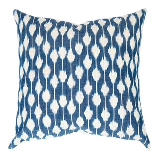 Dotted Indigo Ikat Handwoven Guatemalan Pillow For Sale