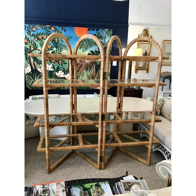Boho Chic Bielecky Brothers Rattan Arch Top Etagere For Sale - Image 3 of 12