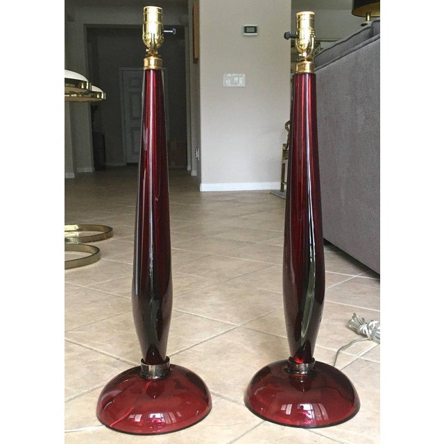 Blown Glass Large Flavio Poli Seguso Sommerso Murano Red Glass Table Lamps - a Pair For Sale - Image 7 of 13